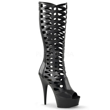 Delight-600-42, 6 Inch Cut out Cage Knee High Boots