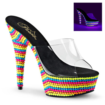 Stripper Shoes Delight-601RBS, 6 Inch Stiletto Heel Slide with UV Reactive Stones