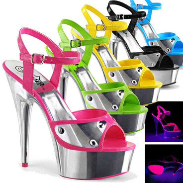 Delight-609NC, 6 Inch Ankle Strap Sandal with Metal Plate Vamp