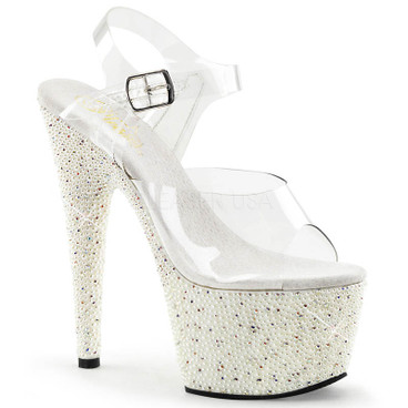 Pearlize-708, 7 Inch Ankle Strap Sandal with Pearls and Rhinestones