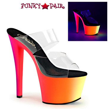 Pleaser Shoes | Double Strap with Multi-Color Platform Rainbow-302UV,