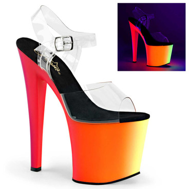 Rainbow-708UV, 7.5 Inch Ankle Strap with Multi-Color Platform by Pleaser