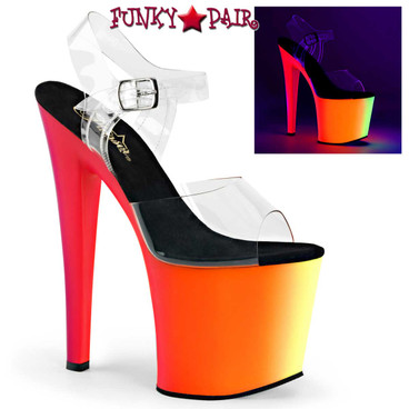 Pleaser | Rainbow-708UV, Ankle Strap with Multi-Color Platform