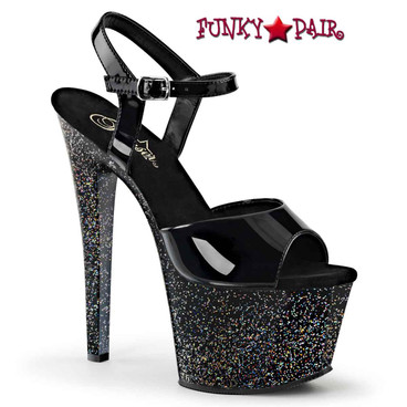 Pleaser Sky-309MG, 7 Inch Platform Ankle Strap with Mini Glitters