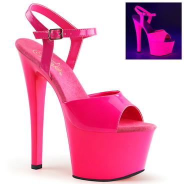 "Sky-309UV, 7"" Stripper Shoes with Hot Pink Neon UV Reactive by Pleaser"