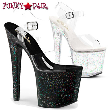 Pleaser | Taboo-708MG, Ankle Strap with Mini Glitter Platform