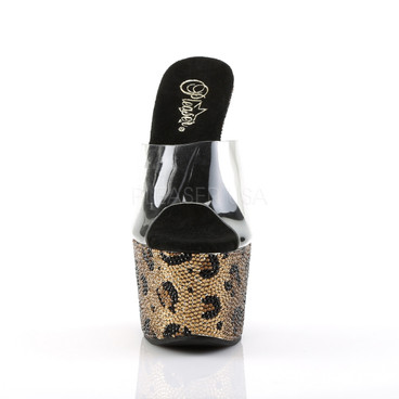 Bejeweled-701LP, 7 Inch Slide with Rhinestones in Leopard Pattern front view