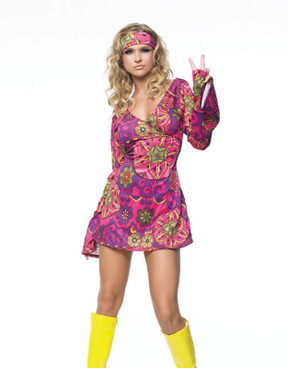 Hippie girl print dress