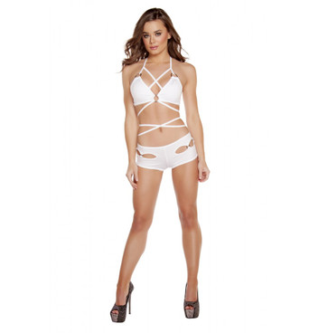 white SH3184 - Cut Out O-Ring Shorts