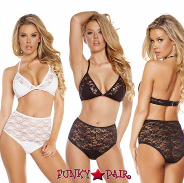 Rave Lace Top and High Waist Shorts   Roma R-3212 color available: black and White