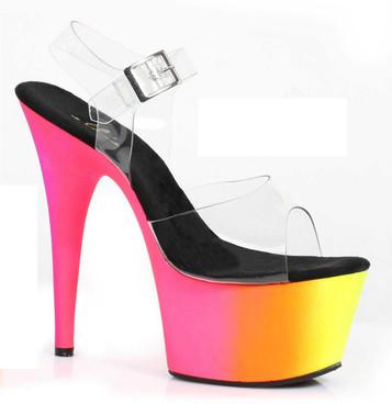 "Ellie Shoes | 709-Rainbow 7"" Pole Dancing Neon Rainbow Sandal"