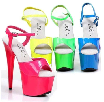 "709-Solaris 7"" Dancer Neon Platform Sandal by Ellie Shoes"
