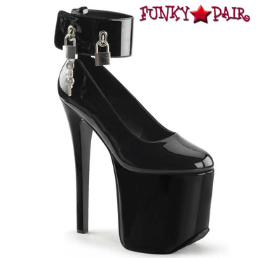 """Tramp-742, 7.25"""" Fetish Pump with Cuffs Devious by Pleaser"""