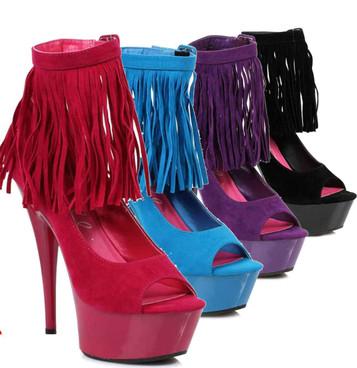 "6"" Fringe Peep Toe Pump Ellie Shoes | 609-Aponi"