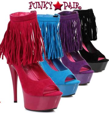 "Ellie Shoes | 609-Aponi 6"" Fringe Peep Toe Pump"