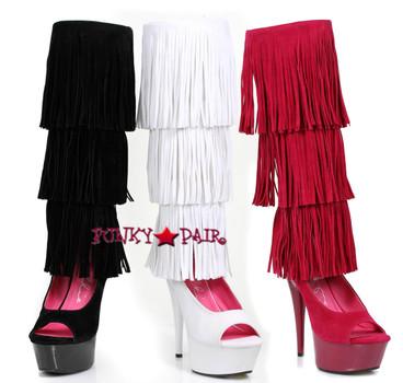 "Ellie Shoes | 609-Hopi 6"" Velvet Fringe Boots"