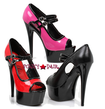 Exotic dancer Shoes 609-Jet, Peep Toe Double Strap Mary Jane Shoe