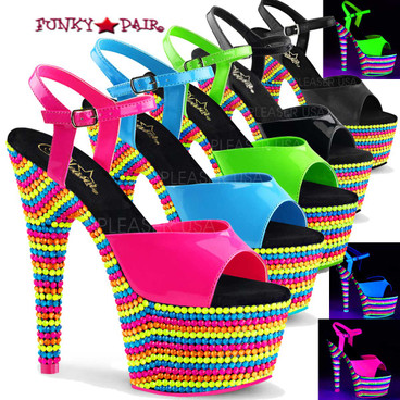 Adore-709RBS, 7 Inch Stiletto Heel Ankle Strap with Neon Reactive Platform by Pleaser USA