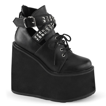 Swing-05, Wedge Platform Buckle Strap Cutout Bootie by Demonia