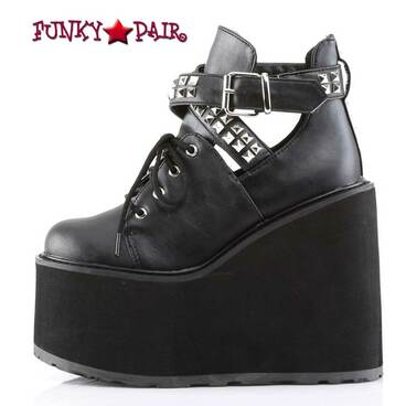 Demonia Swing-05, Wedge Platform Buckle Strap Cutout Bootie