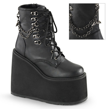 Swing-101, Gothic Wedge Platform Ankle Boots with Bat Charm by Demonia