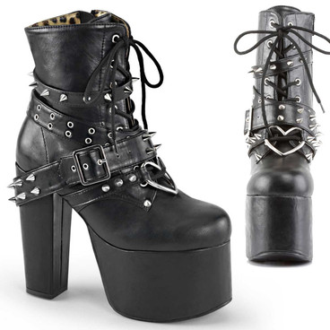 Torment-700, Women's Punk Gothic Buckled Straps with Spikes by Demonia