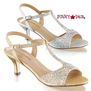 "Fabulicious | Audrey-05, 2.5"" kitten T-Strap Evening Sandal with Rhinestones"