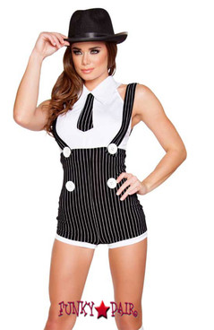 R4589, Seductive Moster Mama, Gangster girl costume comes with romper and top with tie detail