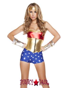 R4607, Lusty American Superheroine, American Superheroine costume includes romper, waist cincher witeh boning, and headband