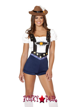 R4535, Boadacious Bee Babe, Beer Babe costume includes shorts with flower trim and attached suspenders, tube top, sleeves, and hat