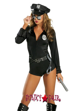 R1212-Lady Law, Cop costume includes zipper front romper, belt, hat, badge, handcuffs, baton and walkie-talkie