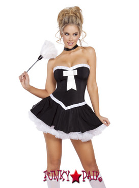 R4637-3pc Sultry Maid, Maid costume includes flared skirt, tube top with bow detail, and feather duster