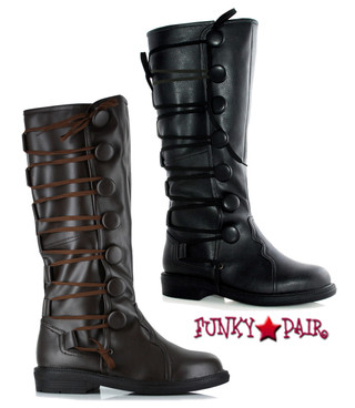 125-REN, Men Knee High Boots with Buttons,COSTUME BOOTS