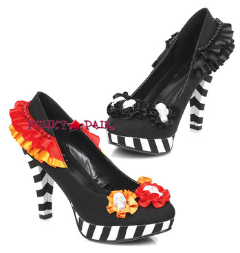 414-Dia, 4 inch Pump with flowers and Skulls,COSTUME SHOES