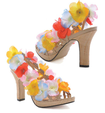 "1031 Costume Shoes | 402-Luau, Hawaii 4"" Heel Flower sandal"