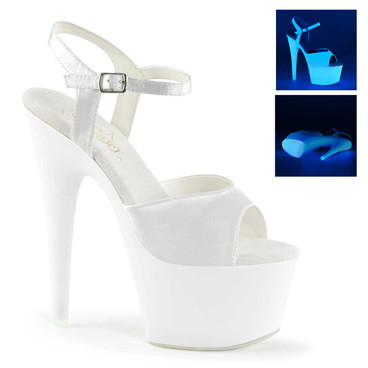Adore-709UV, 7 Inch Ankle Strap Sandal White UV Reactive by Pleaser