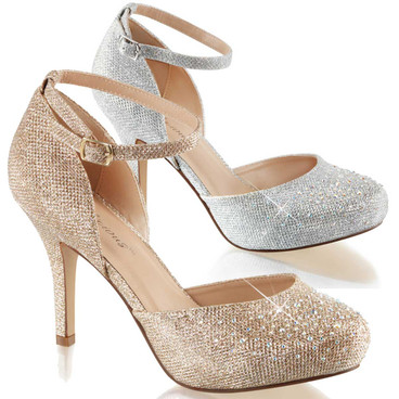 "Covet-03, 3.5"" Special Occasion D'orsay Pump with Rhinestones"