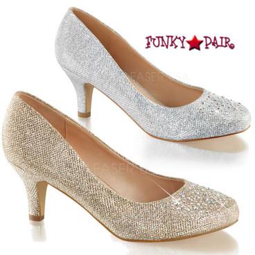 "Fabulicious | Doris-06, 2.5"" Dressy Kitten Heel Pump with Rhinestones"