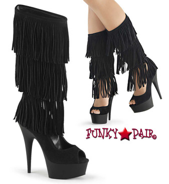 Pleaser Boots | Delight-1065, 6 Inch Triple Layer Fringe Boot