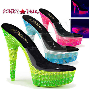 Clearance Stripper Shoes Delight-601UVS, 6 inch Slide with Bottom Encrusted Neon UV Reactive Stones