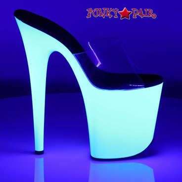 8 Inch Stripper Shoes with Neon UV Bottom | Pleaser Flamingo-801UV