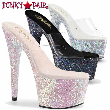 Pleaser Shoes | Adore-701LG, 7 Inch High Heel with Hologram Glitter Platform