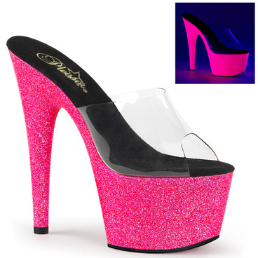 Stripper Shoes Adore-701UVG, 7 Inch Slide with Neon Pink UV Reactive