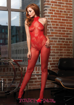 LA89186, Fishnet Halter Bodystocking with Floral