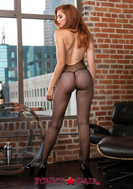 LA89187, Fishnet Halter Bodystocking with Chantilly Lace