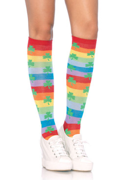 LA5212, Rainbow Clover Knee Highs