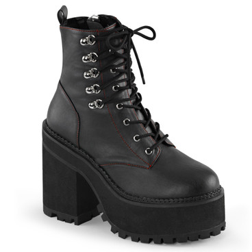 Assault-100, 4.75 inch block heel lace up ankle boot by Demonia