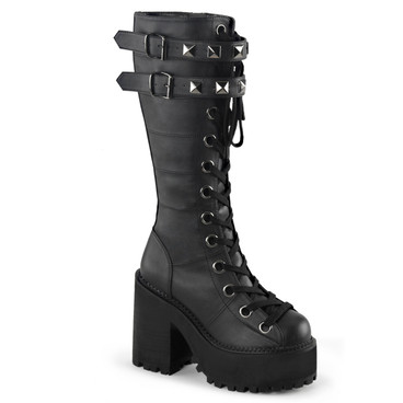 Assault-202, 4.75 inch Platform Lace up Knee High Boots with Buckle Straps
