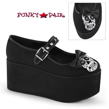 Demonia Shoes Click-02-3, Platform Mary jane with Skull Felt