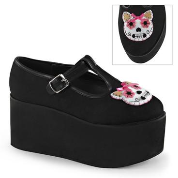 Kitty Cat Felt Platform Mary jane Demonia | Click-04-1